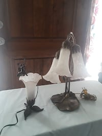 Two amber lily flower table lamp