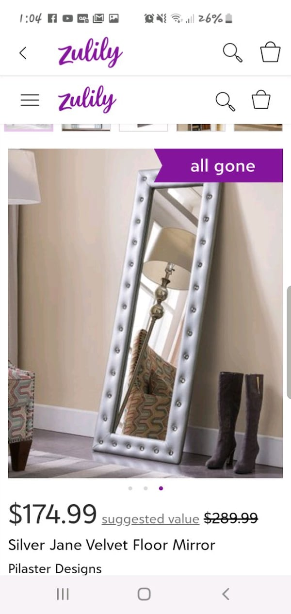 ** BRAND NEW IN BOX , NEVER OPENED **  SILVER FLOOR LENGTH MIRROR  b6d4d961-a850-45e5-9358-dd2cb6d89538