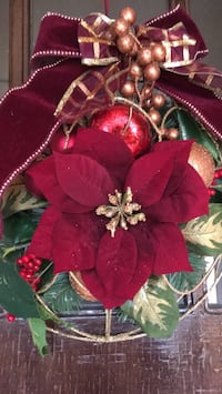 red poinsettia flower wreath with bow accent Stamford, 06902