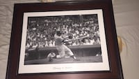 Brown wood framed grayscale photo of baseball player Vero Beach, 32960