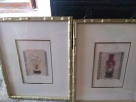 4 framed Asian vase prints