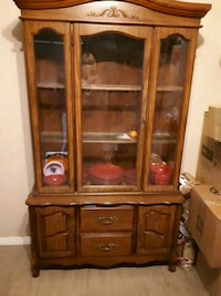 brown wooden framed glass display cabinet 3128 km