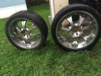 two chrome 5-spoke car wheels with tires Nevada, 50201