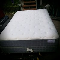 Queen mattress and box spring with frame