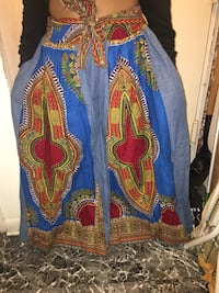 Blue, yellow, and red floral African print pant skirt. New.  New York, 11219
