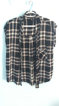 black and white plaid button-up dress shirt Kirkland, H9H 3T8