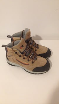 brown-and-black suede hiking boots