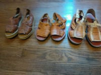 three pairs of brown leather sandals Richmond