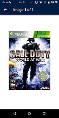 Call of Duty World at War Xbox 360 game case 1622 mi