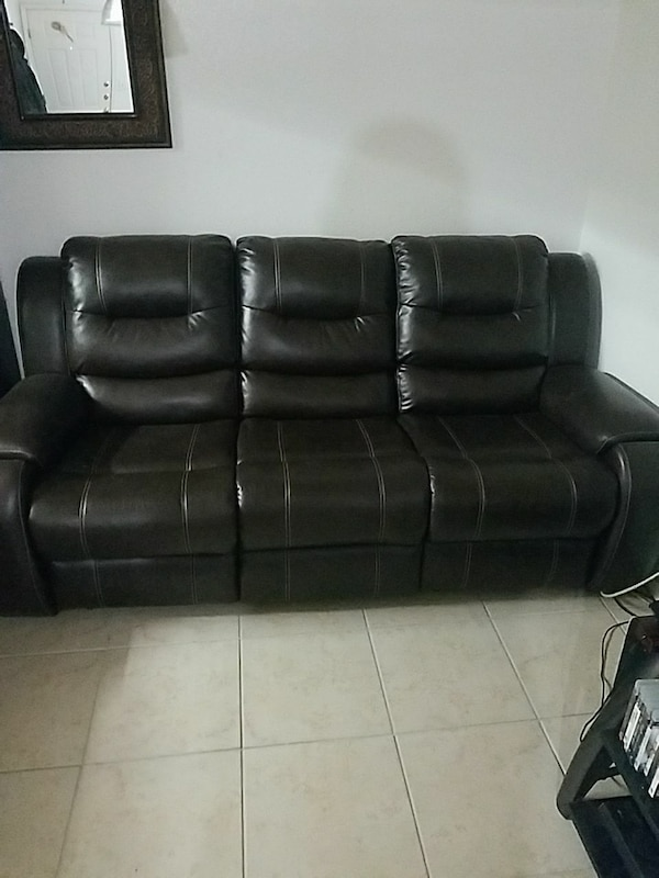 Used Black Leather 3 Seat Recliner Sofa For Sale In El Paso Letgo