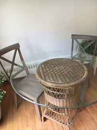 Vintage Wicker Table base and glass top.