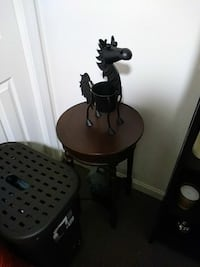 black metal horse figurine and brown wooden side table Plymouth, 02360