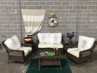 SPRING HAVEN BROWN 4-PIECE ALL-WEATHER WICKER PATIO SEATING SET WITHOUT CUSHIONS COVERS Houston