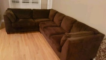 Microsuede sectional and ottoman