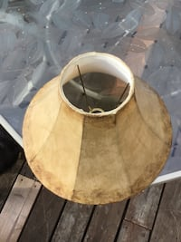 2 LAMPSHADES-first pic: antiqued cloth one, second pic: paper one