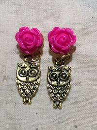 Pink Rose Owl Earrings Hawthorne, 90250