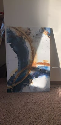 Gold and blue abstract painting Madison, 53719