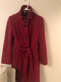 Dark Red Wool Trench High Neck Coat sz S (8) Washington, 20020