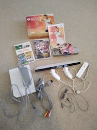 Wii Console, Controllers, Sensor Bar, Cords, Games