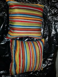 2 red green and blue striped throw pillows Newark, 07102