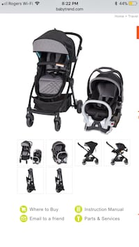 Baby trend - black and grey stroller system