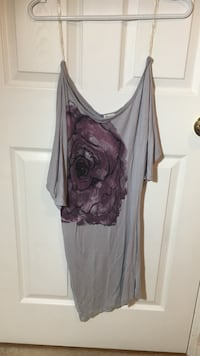 Gray and purple floral printed scoop neck long shirt Barrie, L4N 8S4