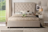 Upholstered Bed with Storage on Footboard