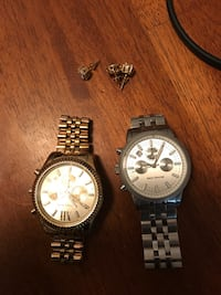 Micheal Kors Gold & Sliver watches plus diamond earrings