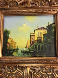 Venice Italy Oil Painting Canvas Ornate Gold Frame