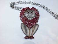 """Large Red and Silver Color Lion Pendant, Long 20"""" Silver-Tone Necklace From The 1970s Era Dayton"""
