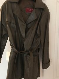 Custom made soft leather unisex jacket, fits small to medium,two deep front pockets olive green Alexandria, 22301