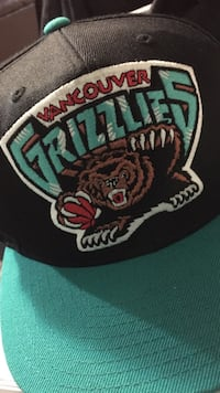teal and black vancouver Grizzlies fitted cap