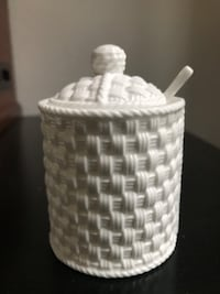 Tiffany Weave Berry Basket Sugar Bowl and Spoon. New York