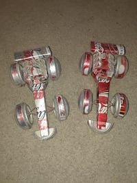 two gray and red Coca-Cola can cars