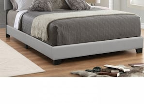 Full Gray Leatherette Bed Frame NEW
