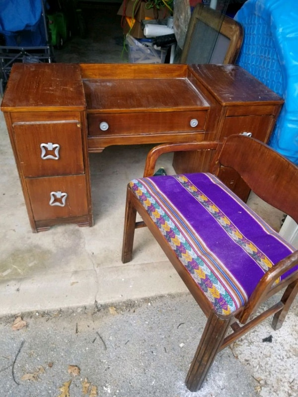 Antique vanity with chair and large mirror--- all