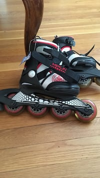 Merlin black-and-red inline skates