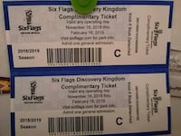 2 tickets to 6 flags Ceres, 95307