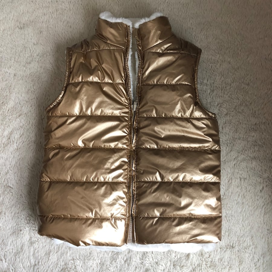 Epic Threads Girls Gold White Reversible Faux Fur Puffer Vest Size 6