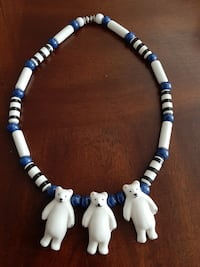 RARE Vintage Signed FLYING COLORS Ceramic Necklace Polar Bears Jewelry
