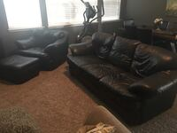 Black leather 3-seat sofa with chair and ottoman  New Braunfels, 78130