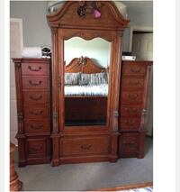 brown wooden armoire with mirror & side chest drawers  Pickering, L1V 6E5