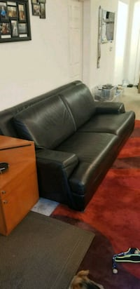 High end black leather 3 seat sofa  Los Angeles, 91335