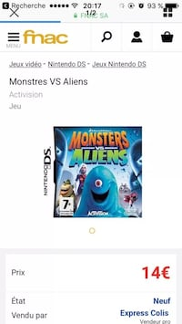 Monster VS Aliens Nintendo DS jeu capture d'écran