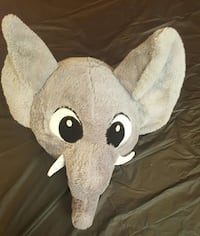 Gray PLUSH Elephant Head Pillow