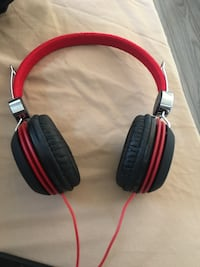 Red and black style headphone