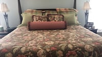 Beige, brown, and red floral bedspread set. Pillows sold together or separately. Fits king size bed. Hand made not store purchase. King size . Damascus, 20872