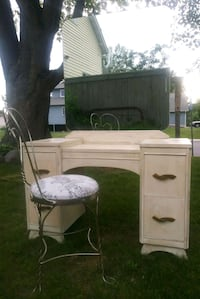 Vintage Vanity with Mirror and Chair  Blaine