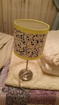 silver table lamp base with white, black, and yellow floral drum lampshades Hamilton, L8B 0R2