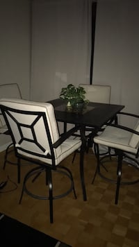rectangular black metal framed glass top table with chairs set Montréal, H3G 2K1